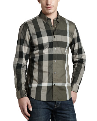 Large-Check Sport Shirt, Pebble