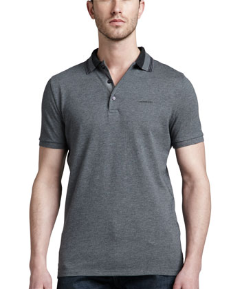 Tipped Pique Polo, Mid Gray Melange