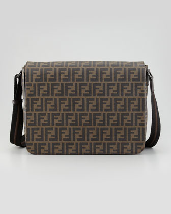 Zucca-Print Flap-Top Messenger Bag, Tobacco
