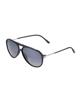 Tom Ford Matteo Plastic Aviator Sunglasses, Matte Black