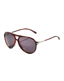 Tom Ford Matteo Plastic Aviator Sunglasses, Red Havana