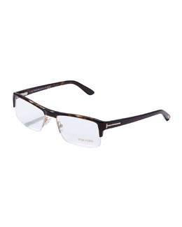 Tom Ford Acetate Half-Frame Fashion Glasses, Havana