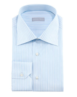 Stefano Ricci Micro-Dash Striped Dress Shirt, Blue/White