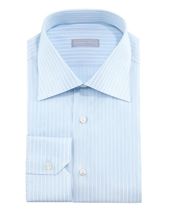 Micro-Dash Striped Dress Shirt, Blue/White