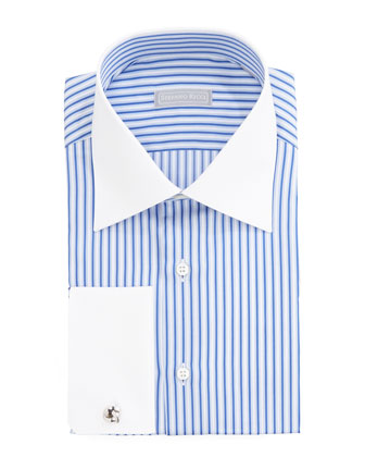 Striped Contrast-Collar Dress Shirt