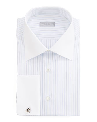 Contrast-Collar Striped Dress Shirt, White/Lavender