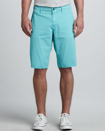 St. Bart's Raw-Edge Shorts, Aqua