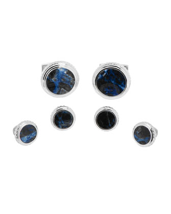 Lapis Cuff Links & Studs Set