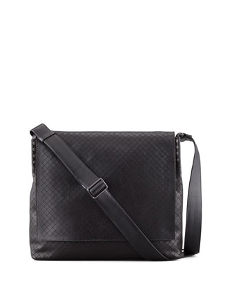 Men's Intrecciato Collage Messenger Bag, Black