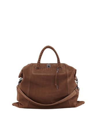 Woven-Detail Suede Tote Bag, Brown