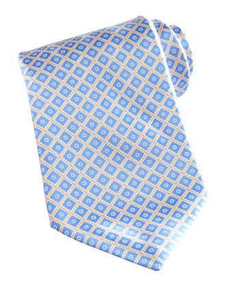 Dot-Square Silk Tie, Blue/Yellow