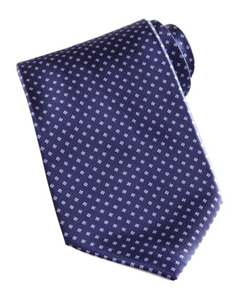 Mini-Flower Silk Tie, Navy
