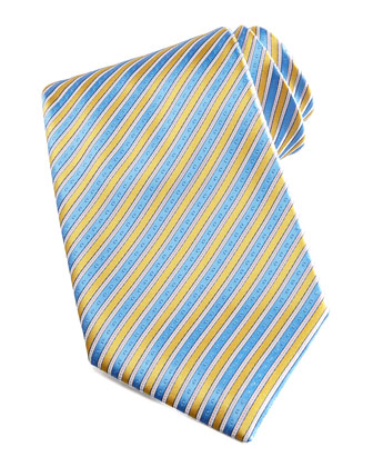 Striped Silk Tie, Yellow/Blue