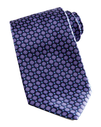 Medallion Silk Tie, Navy/Purple