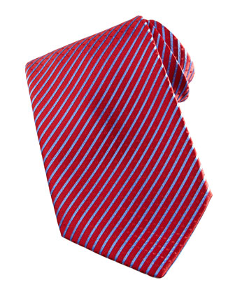 Narrow-Stripe Silk Tie, Red/Blue