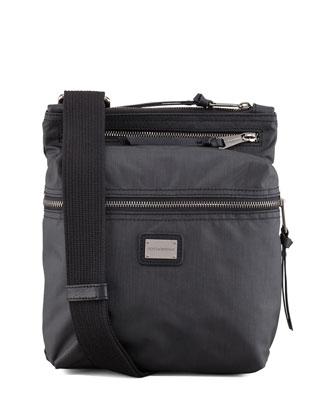 Nylon Zip-Top Messenger Bag, Black
