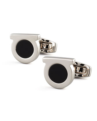 Gancini Black Onyx Cuff Links