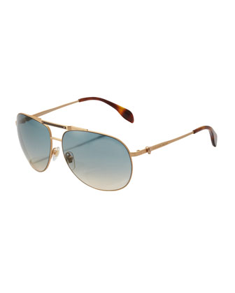 Skull Aviator Sunglasses, Matte Gold