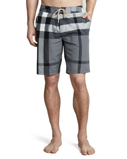 Burberry Brit Check Boardshorts, Charcoal