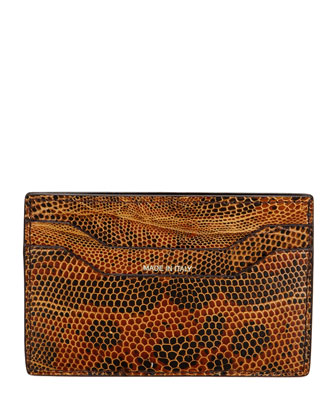 Lizard Card Case, Brown