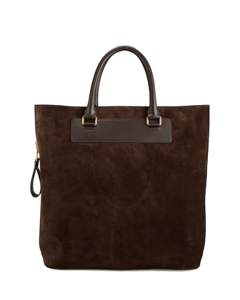 Suede Side-Zip Tote Bag