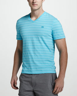 Lacoste Vintage-Wash Striped Tee, Hawaiian Blue