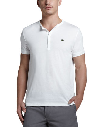Short-Sleeve Pima Henley, White