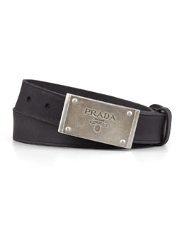 Prada Logo-Plaque Leather Belt, Black