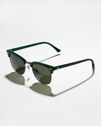 Clubmaster Sunglasses, Dark Tortoise/Green