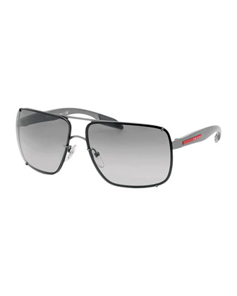 Square Metal Sunglasses, Gray