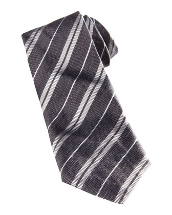 Skinny Striped Tie, Gray