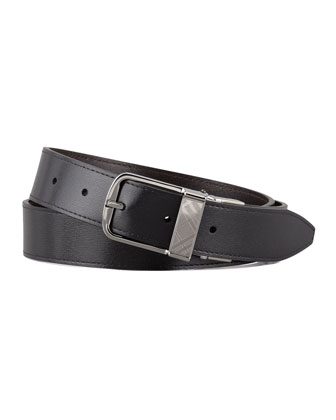Reversible Check-Buckle Leather Belt