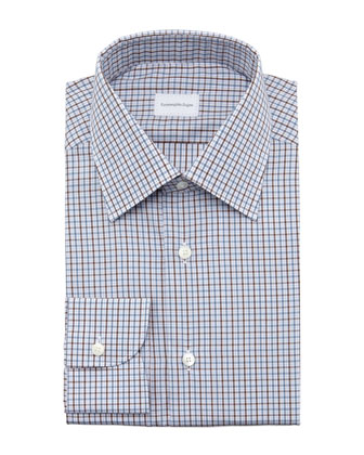 Check Dress Shirt, Blue/Brown