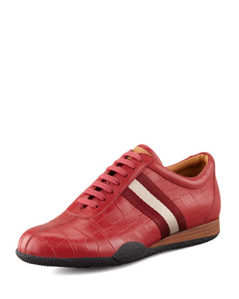 Freenew Crocodile-Embossed Sneaker, Red
