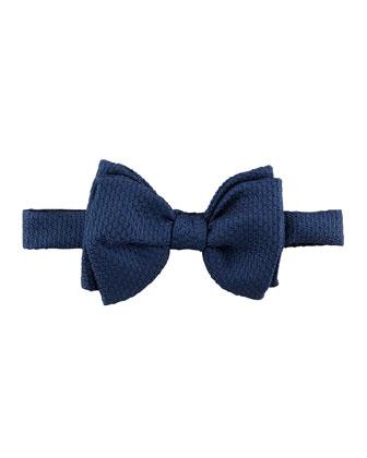 Grenadine Textured Silk Bow Tie, Navy
