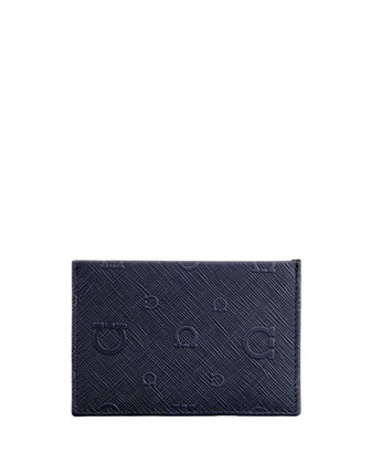 Apollo Gancini Leather Card Case, Blue