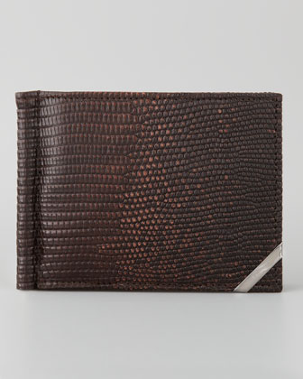 Angolino Lizard Wallet with Clip, Brown