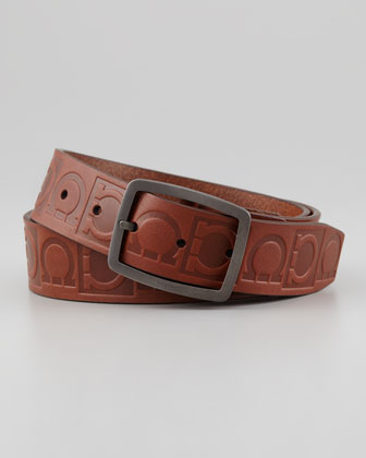 Leather Logo-Engraved Gancini Belt, Brown