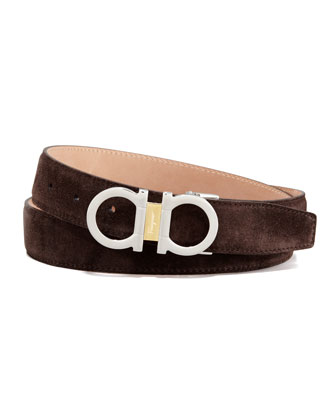 Suede Two-Tone Gancini Belt, Brown
