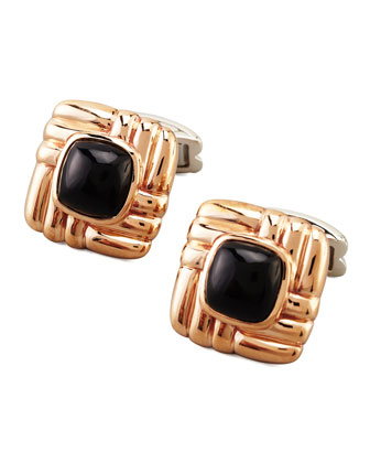 Bedeg Square Black Chalcedony Cuff Links