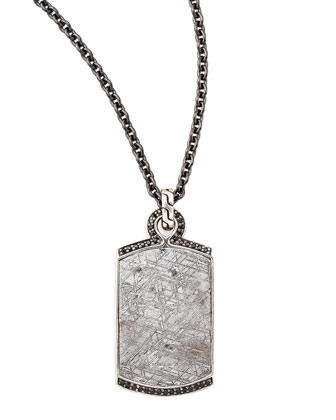 Batu Men's Meteorite & Black Sapphire Dog Tag Necklace