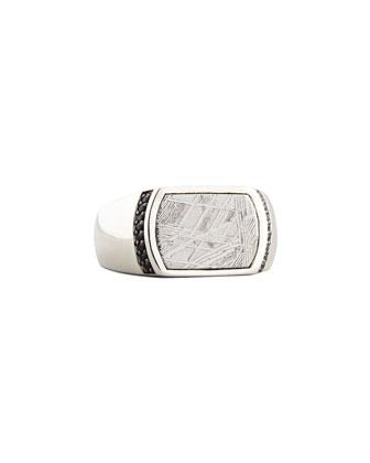 Batu Men's Meteorite & Black Sapphire Ring