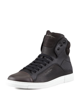 Sisto Mixed-Media High-Top Sneaker, Black/Chocolate