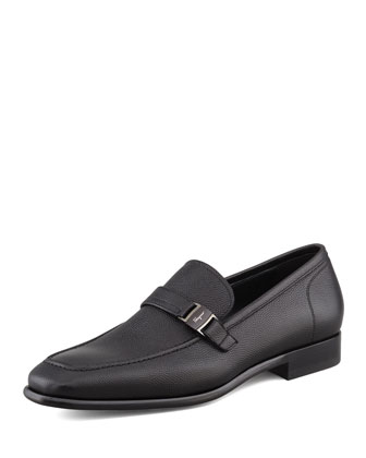 Svezia Pebbled Leather Loafer, Black
