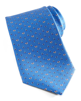 Flowers Silk Tie, Blue