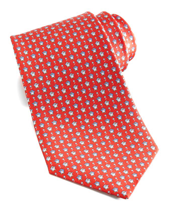 Penguins Silk Tie, Red