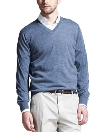 Fine-Gauge V-Neck Sweater, Blue