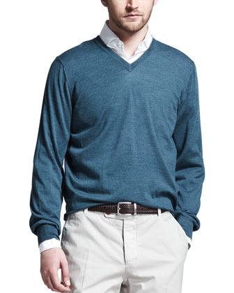 Fine-Gauge V-Neck Sweater, Teal