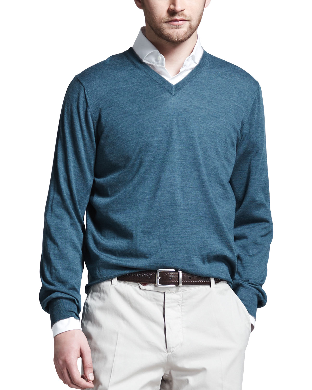 Mens Fine Gauge V Neck Sweater, Teal   Brunello Cucinelli   Teal (L/52)