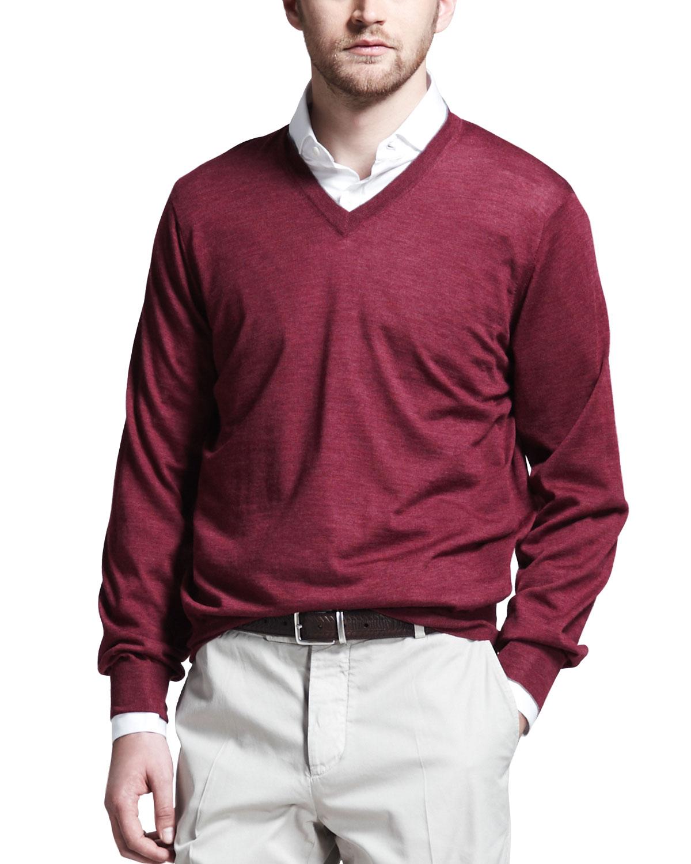 Mens Fine Gauge V Neck Sweater, Maroon   Brunello Cucinelli   Maroon (L/52)